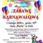 Zaproszenie – zabawa karnawałowa