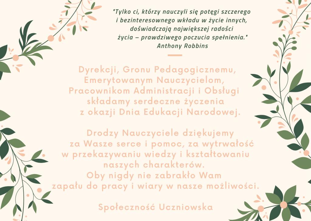 Życzenia Społeczności Uczniowskiej z okazji Dnia Edukacji Narodowej